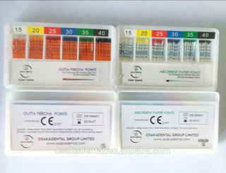 Osaka Color Coded Depth mm Marked Gutta Percha Points Orthodontic Material for Dental Filling Use