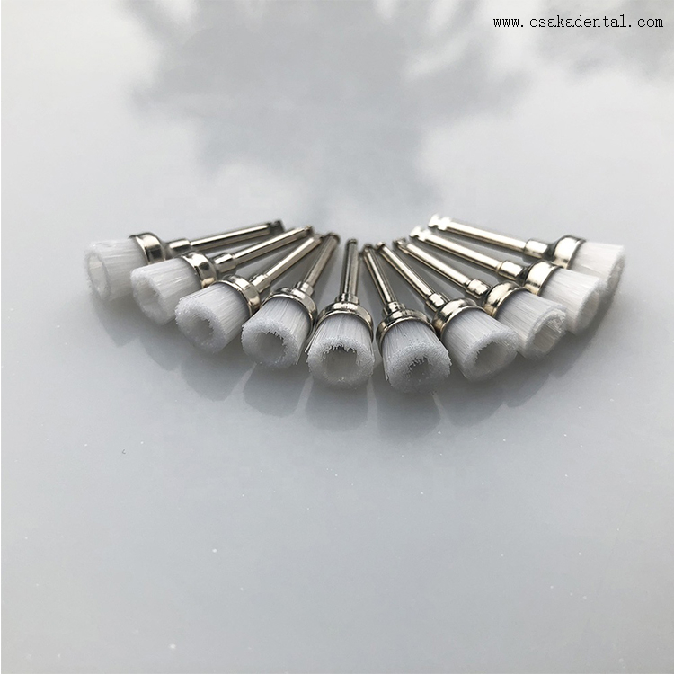 Dental Latch Style Flat White Bristle Prophy Brush