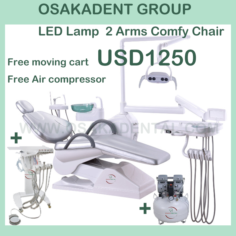 Dental chair with air compressor with curing trolly